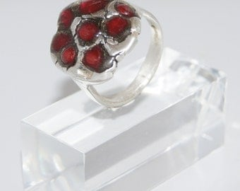 Ring Silver with Red Resin - R156