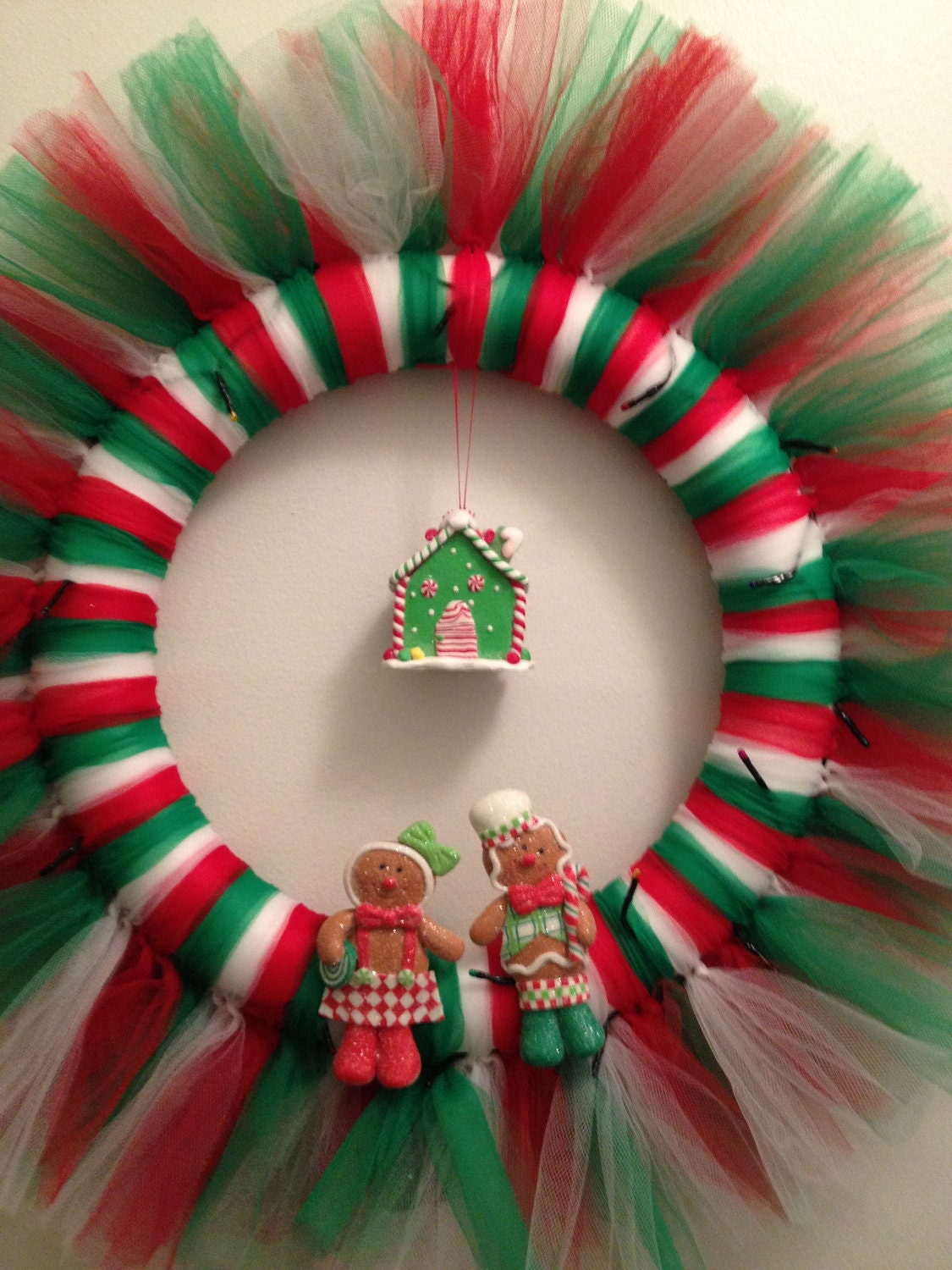 Christmas Gingerbread Tulle Wreath with Cottage and Lights