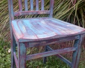 Distressed Wooden chair, teal blue, multi colors, hand painted, Shabby Chic