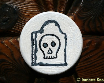 Skull Headstone Miniature Art - Pocket Charm - OOAK