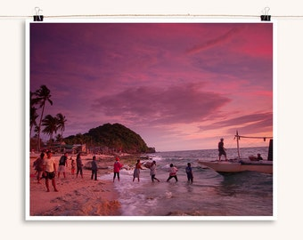 Tropical Island Sunset - Island Beach Sunset Photography Collection - Decorative Wall Art - Red and Orange wall decor