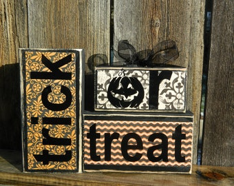 Halloween wood blocks-Trick or Treat