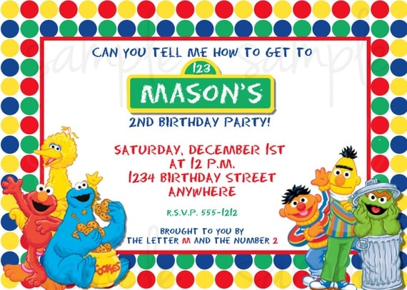 Sesame Street Birthday Invitation Elmo Birthday Invitation.