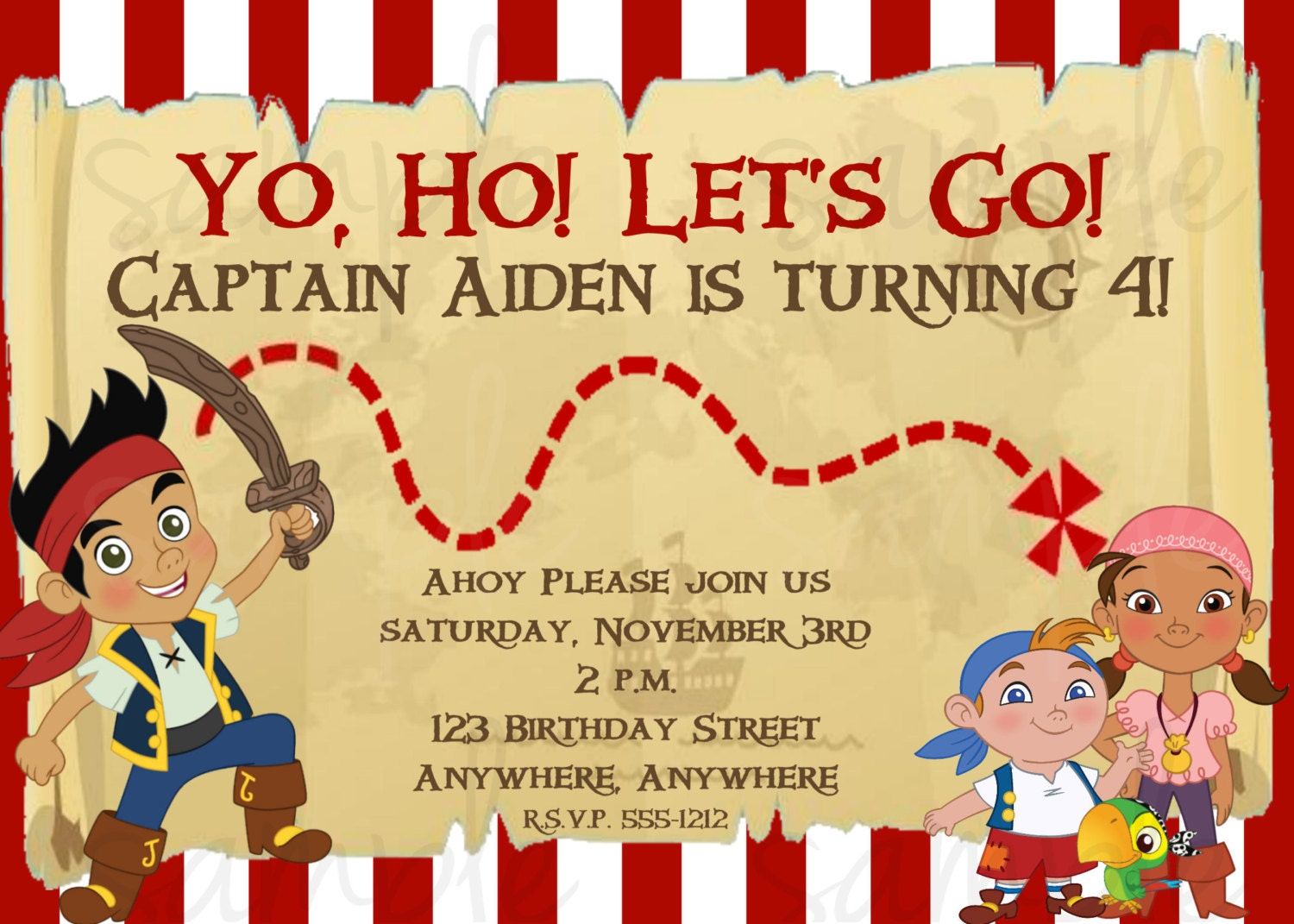 Jake and the neverland pirates party invitations - photo#6
