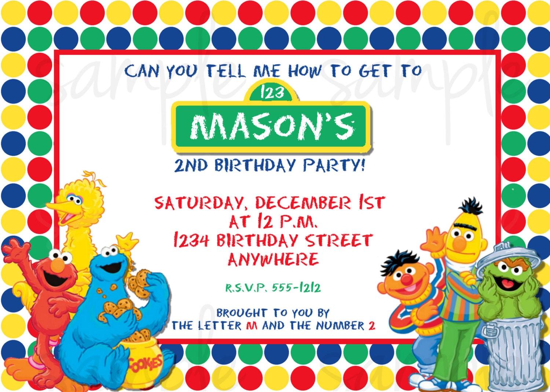 Sesame Street Birthday Invitation Elmo Birthday Invitation