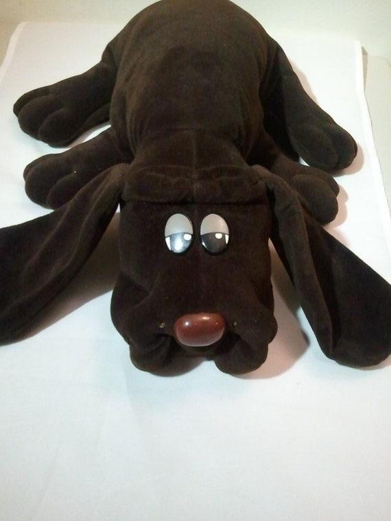 "Vintage Pound Puppy Tonka 18"" dark brown chocolate plush animal"