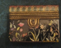 REDUCED Asian  Hand Painted Enamil Flowers on Black Porcelain  Dresser Box Trinket Box with Brass hardware