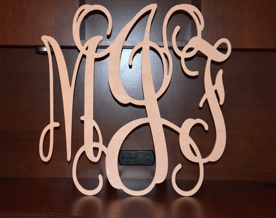 24 wooden monogram letters wood monogram vine script monogram unfinished wooden initials