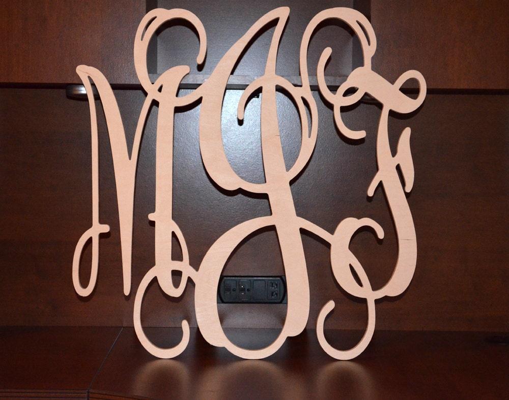 24 Wooden Monogram Letters Wood Monogram Vine Script