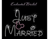 Disney Inspired Just Married With Dangling Mickey Rhinestone Transfer DIY Wedding Bling Iron On