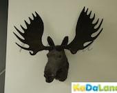 Items similar to furry animal moose head moosehead wall mount replica wildlife decor cabin large - Fake stuffed moose head ...