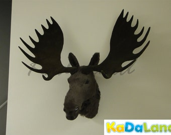 Furry Animal Moose Head Moosehead Wall Mount Replica Wildlife Decor Cabin Large