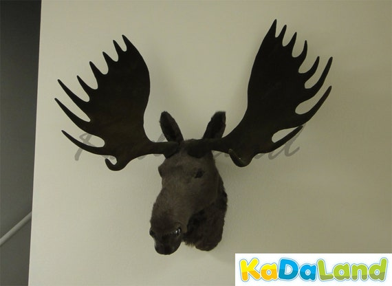 Furry animal moose head moosehead wall mount replica wildlife - Fake moose head mount ...
