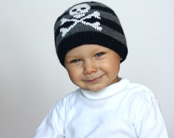 Baby Pirate hat -Jolly Roger hat - Knit baby hat - stripes baby hat - toddler pirate hat - baby boy hat