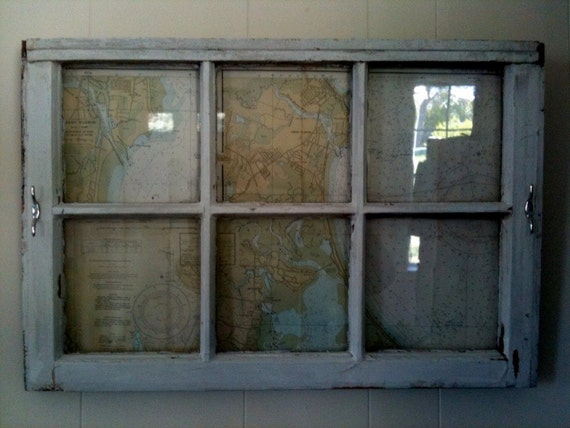Vintage Window Frame with Nautical Chart Enclosed- Maritime Theme Wall Art