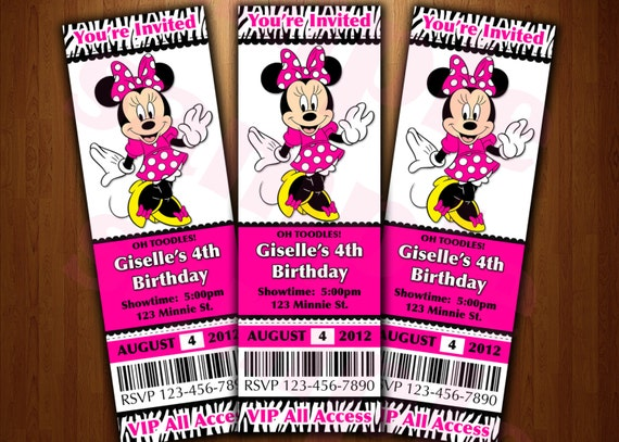 Mickey Mouse ticket invitation printable diy invite RED – Invitation Ticket