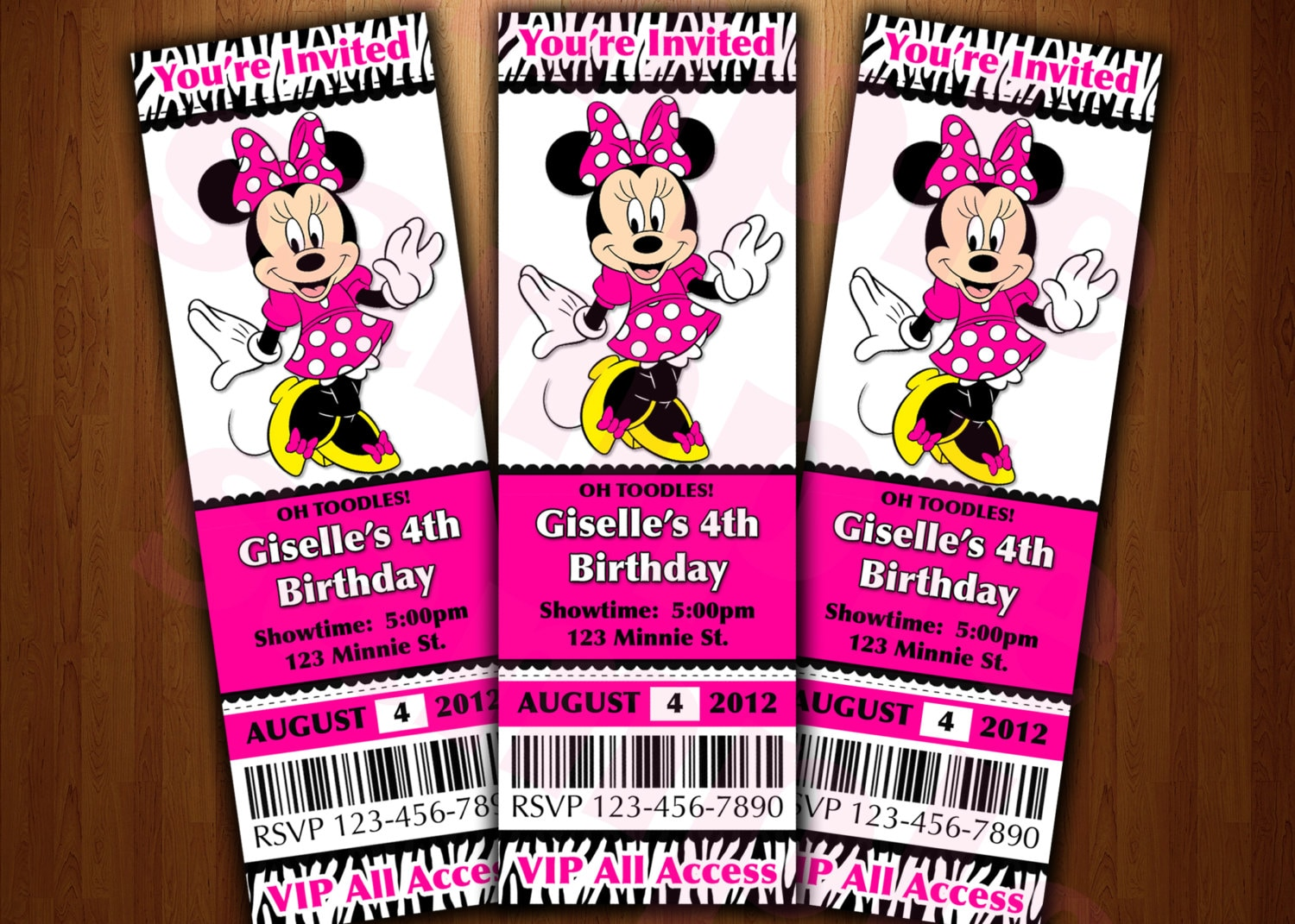 minnie mouse ticket invitation printable diy invite red or