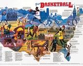 Pro Basketball Wall Map Poster