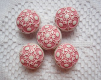 6 Pink & White Etched Puffed Coin Acrylic Beads  17mm