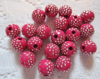 20  Dark Pink Magenta Silver Etched Polka Dotted Round Acrylic Beads  8mm