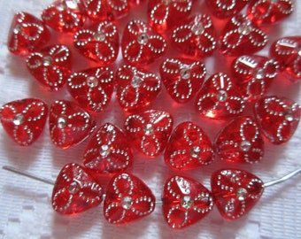 25  Christmas Red & Silver Flower Etched Triangle Acrylic Beads  9mm