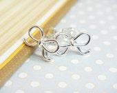 Silver Bow Earrings - sterling silver bow earrings, simple everyday wear, minimalist jewelry, bridal