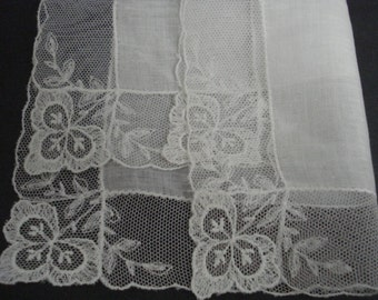 Gorgeous French Net Lace Wedding Handkerchief Tambour Lace Hankie Net Lace Border