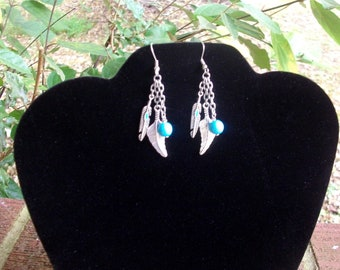Three Strand Chain Dangle Earrings - Feathers and Turquoise