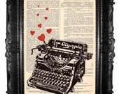 Typewriter - ORIGINAL ARTWORK Typewriter print Hand Painted Mixed Media Art Print on Vintage magazine.