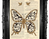 Golden butterfly -  ORIGINAL ARTWORK - Mixed Media -HAND Painted, art print on  vintage magazine