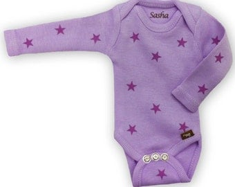 long sleeve purple star onesie onesie to fit sasha baby