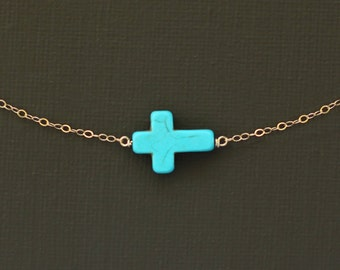 Sideways Turquoise Howlite Cross Necklace - 14K Gold Filled Chain