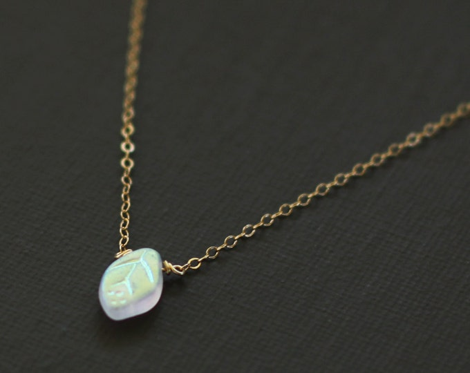 Tiny Opalescent Leaf Necklace - 14K Gold Filled Chain