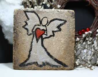 Rustic Angel. Bookend. Garden Decor. 6x6 Tumbled Stone Paver. Rustic Mantle Decor. Garden Decor.  Christmas Angel