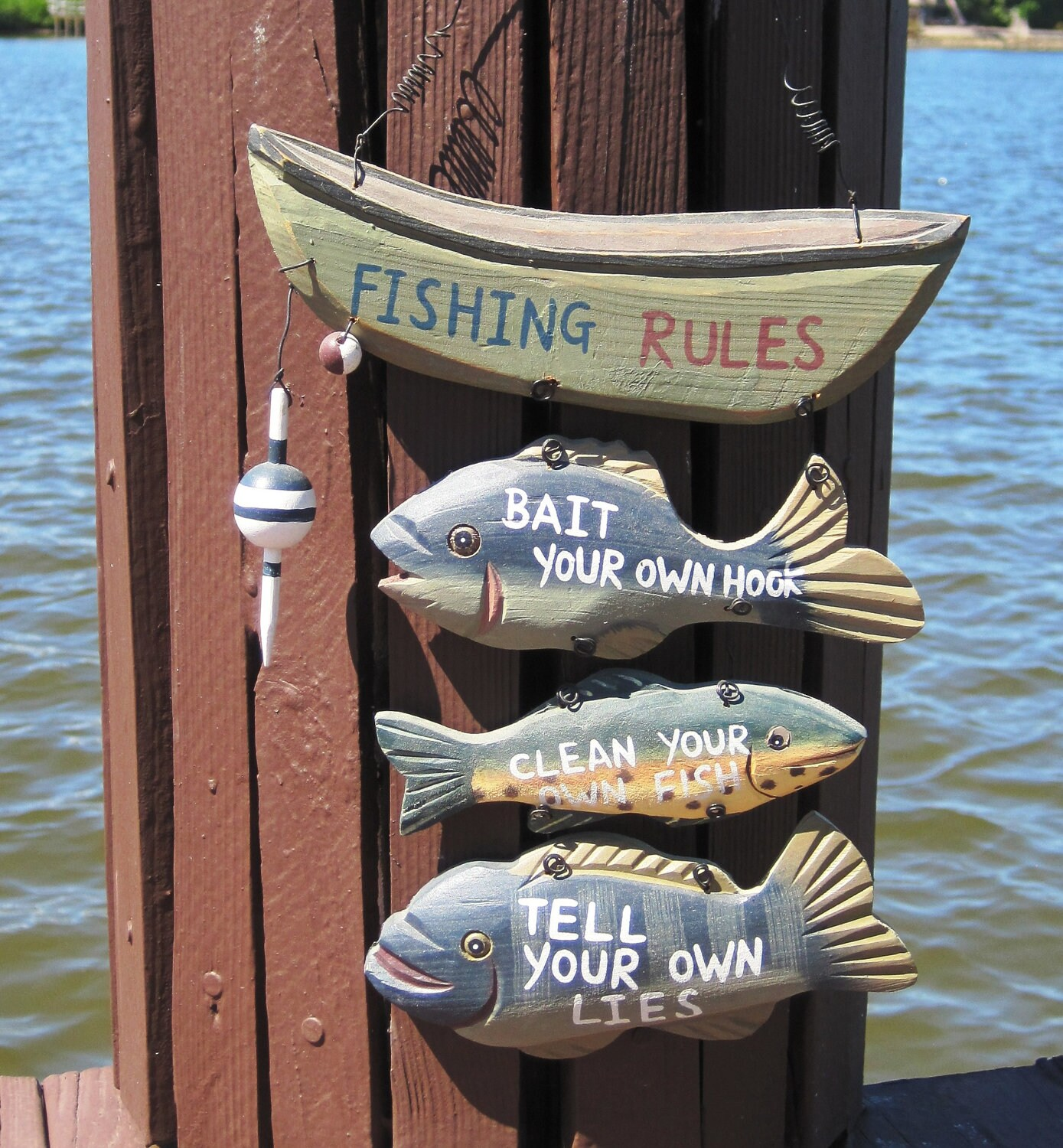 Fishing rules sign nautical decor or cottage welcome sign for Illinois fishing regulations