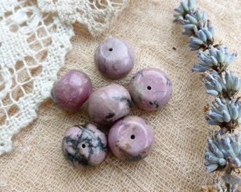 6 x Rhodonite  Bead For Jewelry Making