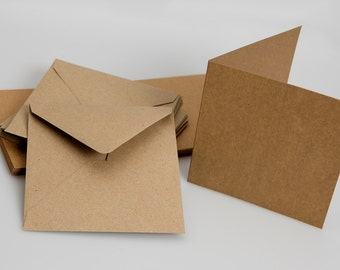 Recycled Brown Kraft Card Blanks with matching envelopes (approx 5 x 5 )
