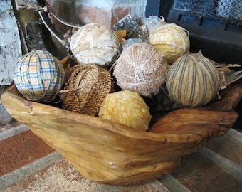 8 Primitive fabric balls bowl fillers yellows blues perfect for spring summer