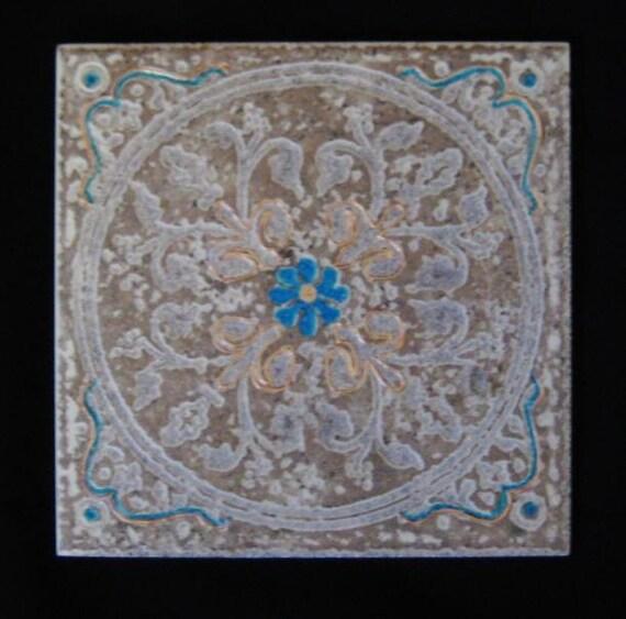 Beige Tile Backsplash Turquoise Flower Blue Accent By