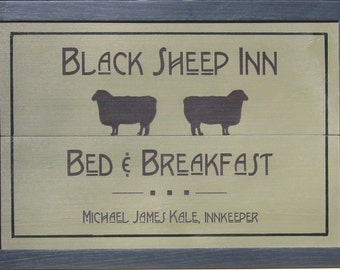 Custom Wooden House Sign for Bed and Breakfast - Mission Style Inn Sign to Personalize - Cottage Sign with Sheep - Bungalow Sign