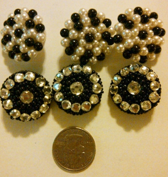 LOT of 6 Buttons- Black & Faux Pearl, Rhinestone, Beaded Buttons - Decorative Buttons