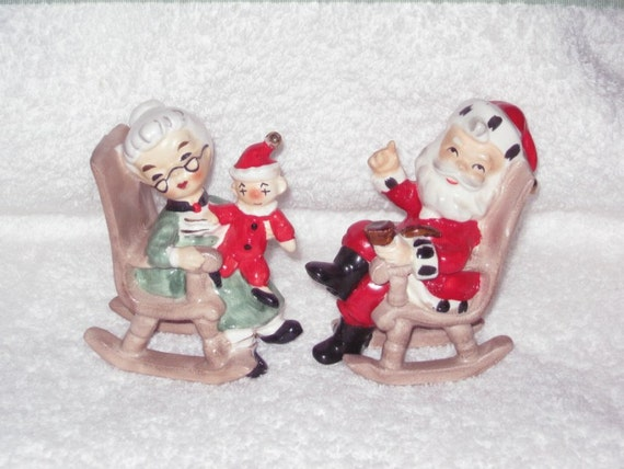 Vintage Christmas Rocking Chair Santa And Mrs Claus Salt