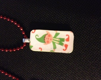 Christmas Elf MINI domino pendant necklace on red ball chain