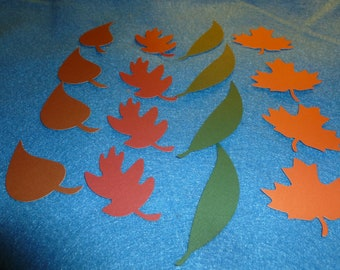 Fall leaves from cardstock, 48 autumn leaves