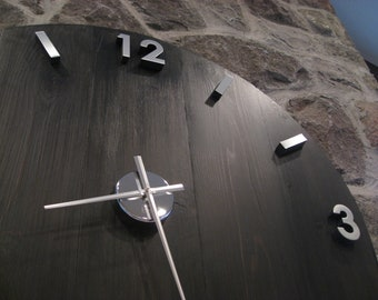 "Large Industrial Wood and Metal Wall Clock with Modern Stainless Numbers (38"" Diameter)"