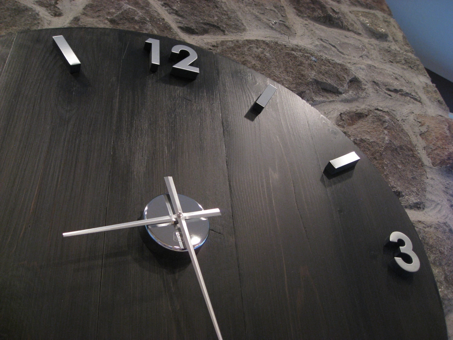 Large industrial wood and metal wall clock with modern zoom amipublicfo Gallery