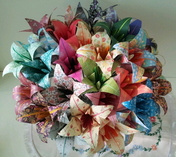 Origami Wedding Flowers: Paper Flowers Lily Origami Bouquet Wedding Paper