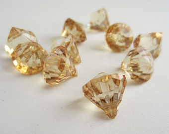 10 Acrylic Crystal Gem Pendant Beads - Light Brown - Tiny Small 12mm