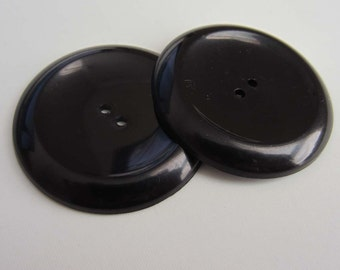 2 Extra Large Black Plastic Buttons