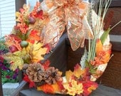 NEW LOW PRICE Straw, pine cone and flower fall wreath with bow
